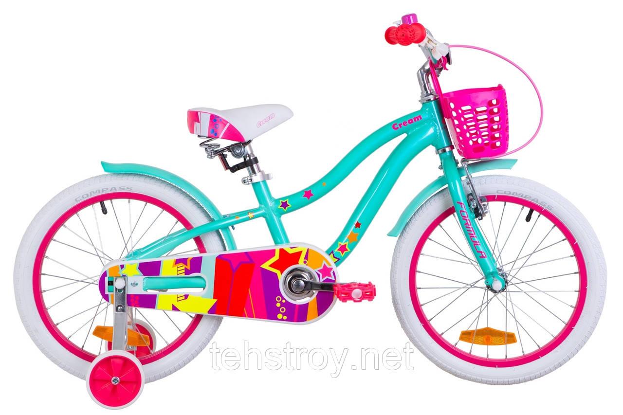 """Велосипед 18"""" Formula CREAM 14G Al с крылом St, с корзиной Pl 2019 (бирюзовый)"""