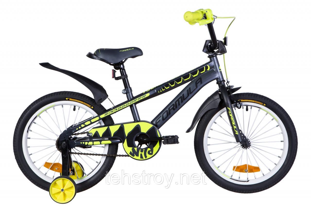 """Велосипед 18"""" Formula WILD 2020 (черно-зеленый с белым)"""