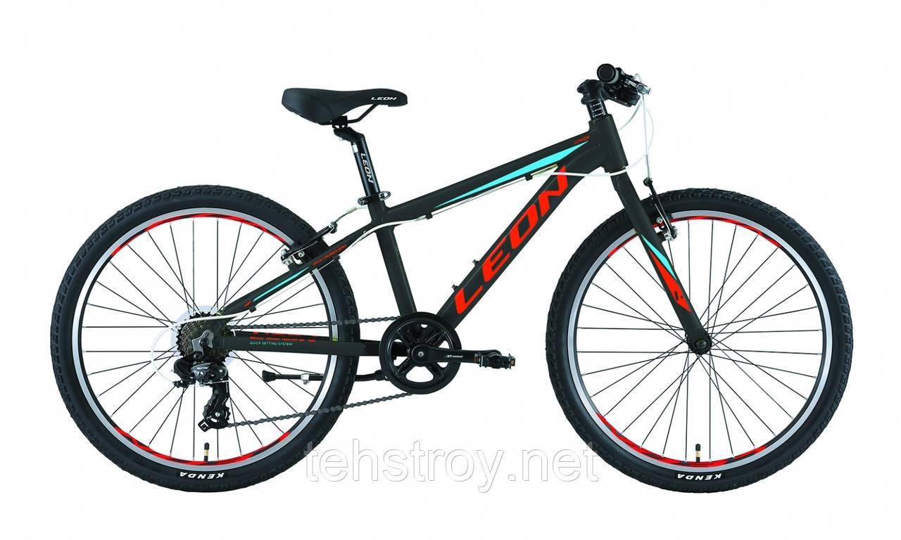 """Велосипед 24"""" Leon JUNIOR 14G Vbr Al 2019 (черно-красный с синим)"""