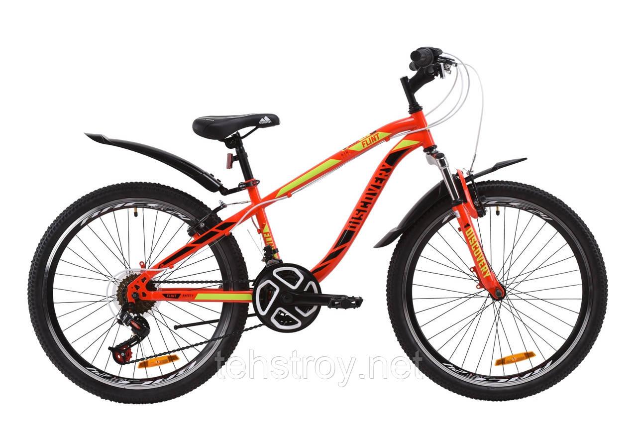 """Велосипед ST 24"""" Discovery FLINT AM Vbr с крылом Pl 2020 (красно-черный с салатовым)"""