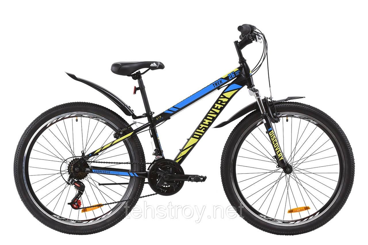 """Велосипед ST 26"""" Discovery TREK AM Vbr с крылом Pl 2020 (черно-зеленый с синим (м))"""