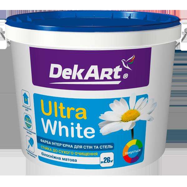 Ultra White Фарба інтер'єрна для стін та стель білосніжна DekArt 12,6 кг