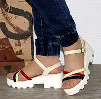 Женские Сандалии Босоножки Бежевые Летняя Обувь на Танкетке Платформа (размеры: 38)