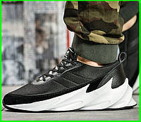 Кроссовки Adidas Мужские Адидас Чёрные с Белым (размеры: 41,42,43,44) Видео Обзор