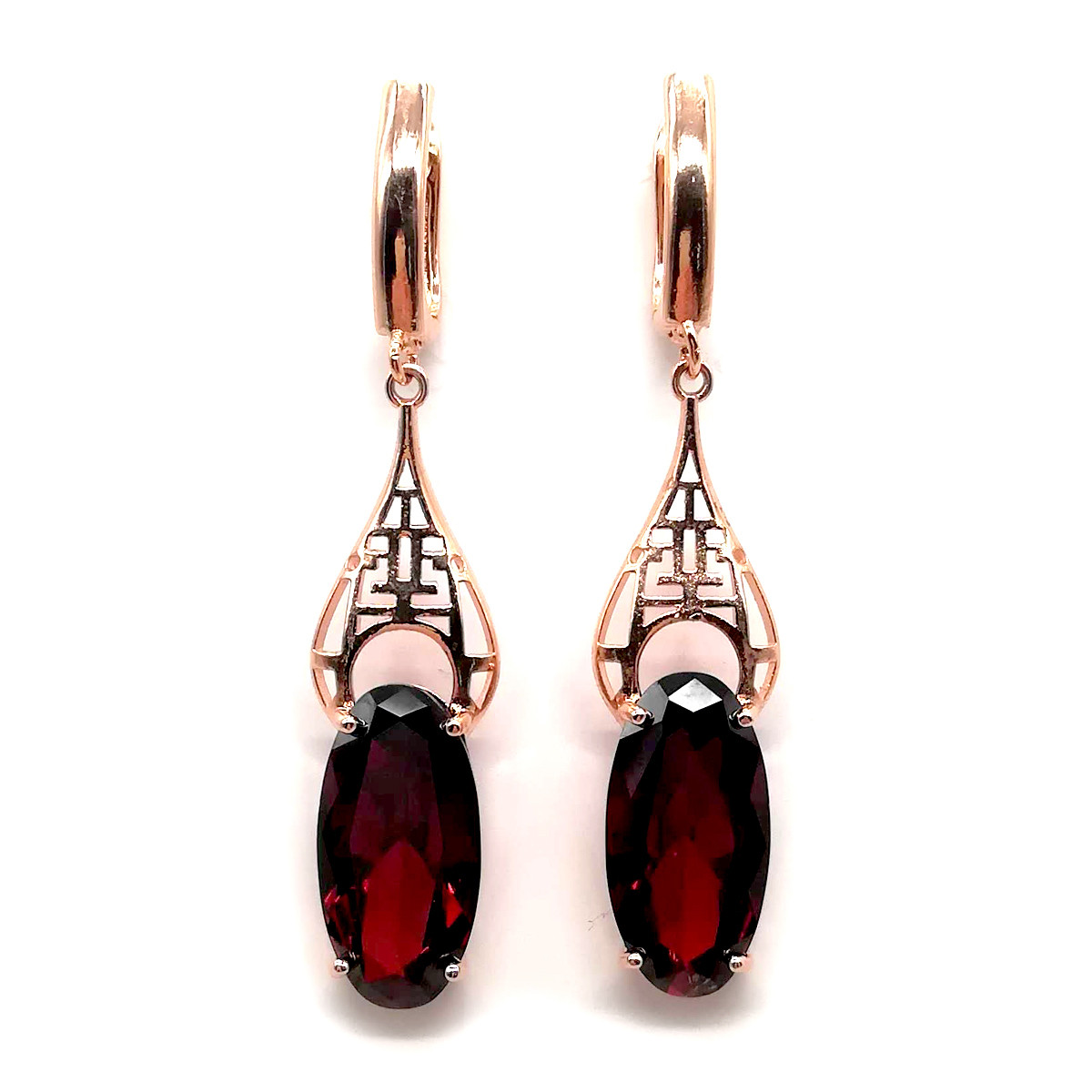 Серьги SONATA из медицинского золота, темно-красные фианиты, позолота PO, 23383       (1)