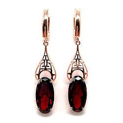 Сережки SONATA з медичного золота, темно-червоні фіаніти, позолота PO, 23383 (1)