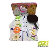 Детский игровой набор повара 2011-09 поварской китель, колпак, плита, тарелка, доска, сковородка в сумке