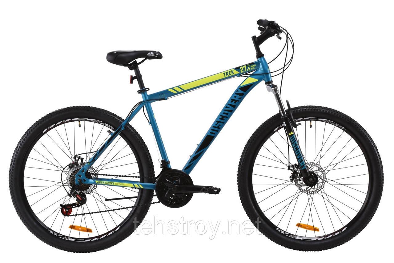"Велосипед ST 27.5"" Discovery TREK AM DD 2020 (малахитовый с желтым (м))"