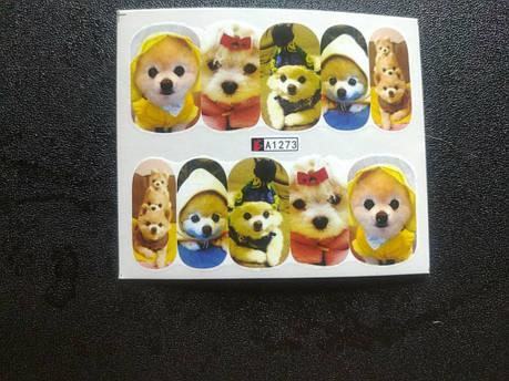 """Наклейка на ногти, наклейка для ногтей, ногтевой дизайн """"собаки"""" 10 шт набор, фото 2"""