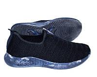 Мужские текстильные кроссовки черные с синей подошвой, фото 1