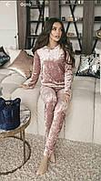 Спортивный костюм женский с карманами из мраморного велюра пудра серый бордовый 42 44 46 48 50 Р, фото 1