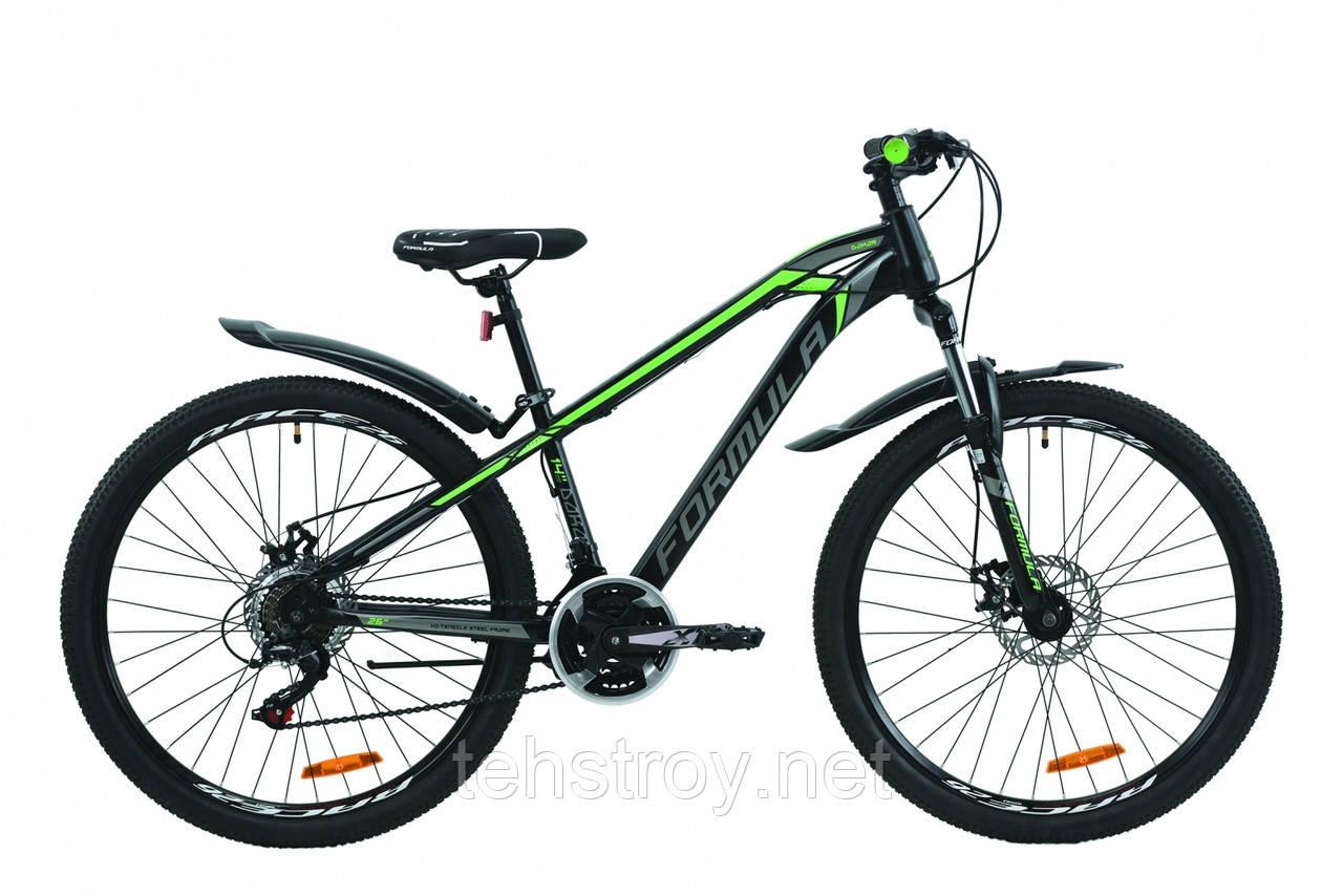 """Велосипед 26"""" Formula DAKAR DD 2020 (черно-серый с зеленым (м))"""