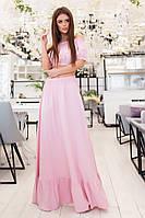 Вечерний летний женский костюм длинная юбка в пол и топ на резинке с рукавом-фонариком розовый