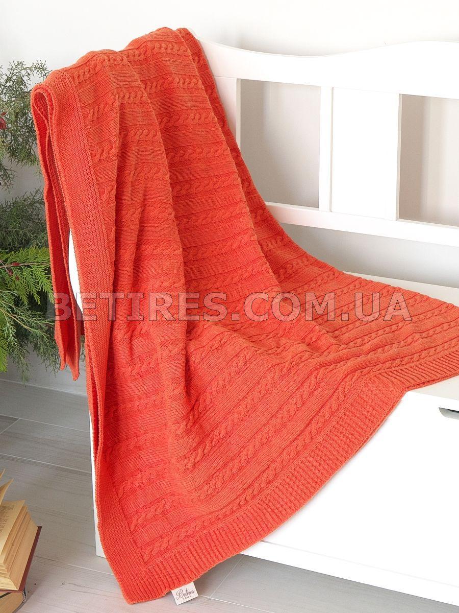 Плед в'язаний 130x170 BETIRES SOHO ORANGE (80% бавовна, 20% поліестер) помаранчевий