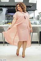 Нарядное женское платье с шифоновой накидкой размеры батал 50-58 арт 004