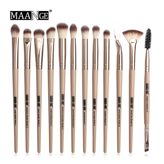 Кисти для макияжа MAANGE Pro 12 шт бежевый