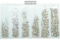 Набор страз холодной фиксации. Premium Crystal SS3-SS10 Non-hot Fix 1600шт.