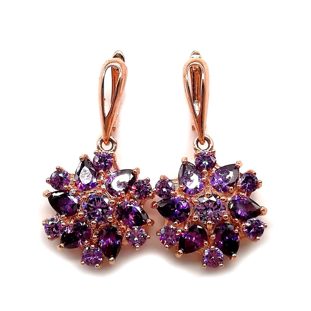 Серьги SONATA из медицинского золота, фиолетовые фианиты, позолота PO, 23337             (1)