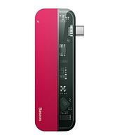 HUB Baseus Transparent Series Type-C Multifunctional HUB Adapter Red