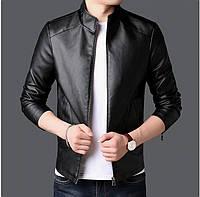Классическая мужская куртка из кожи черная