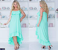 Ассиметричное летнее свободное платье батал размеры 50-56 арт 2166