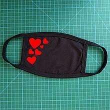 Тканевая сувенирная маска для лица. Сердца