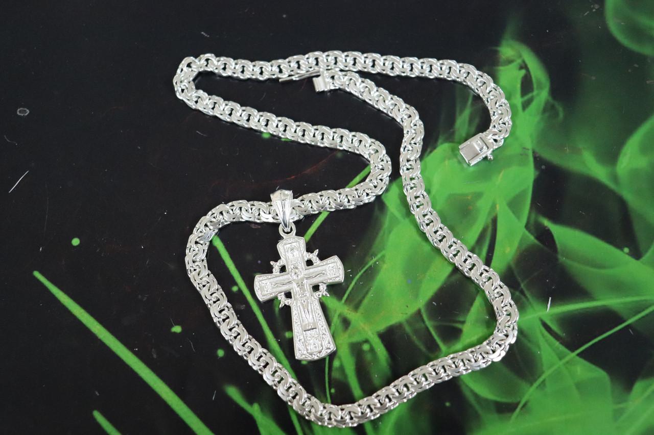 Серебряная цепочка с крестиком