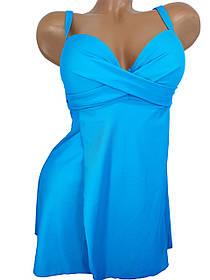 Купальное платье танкини с закрытой спиной Sisianna 39212 голубое на 46 48 50 52 54 размер