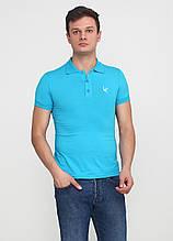 Голубой футболка-поло для мужчин EL & KEN однотонная