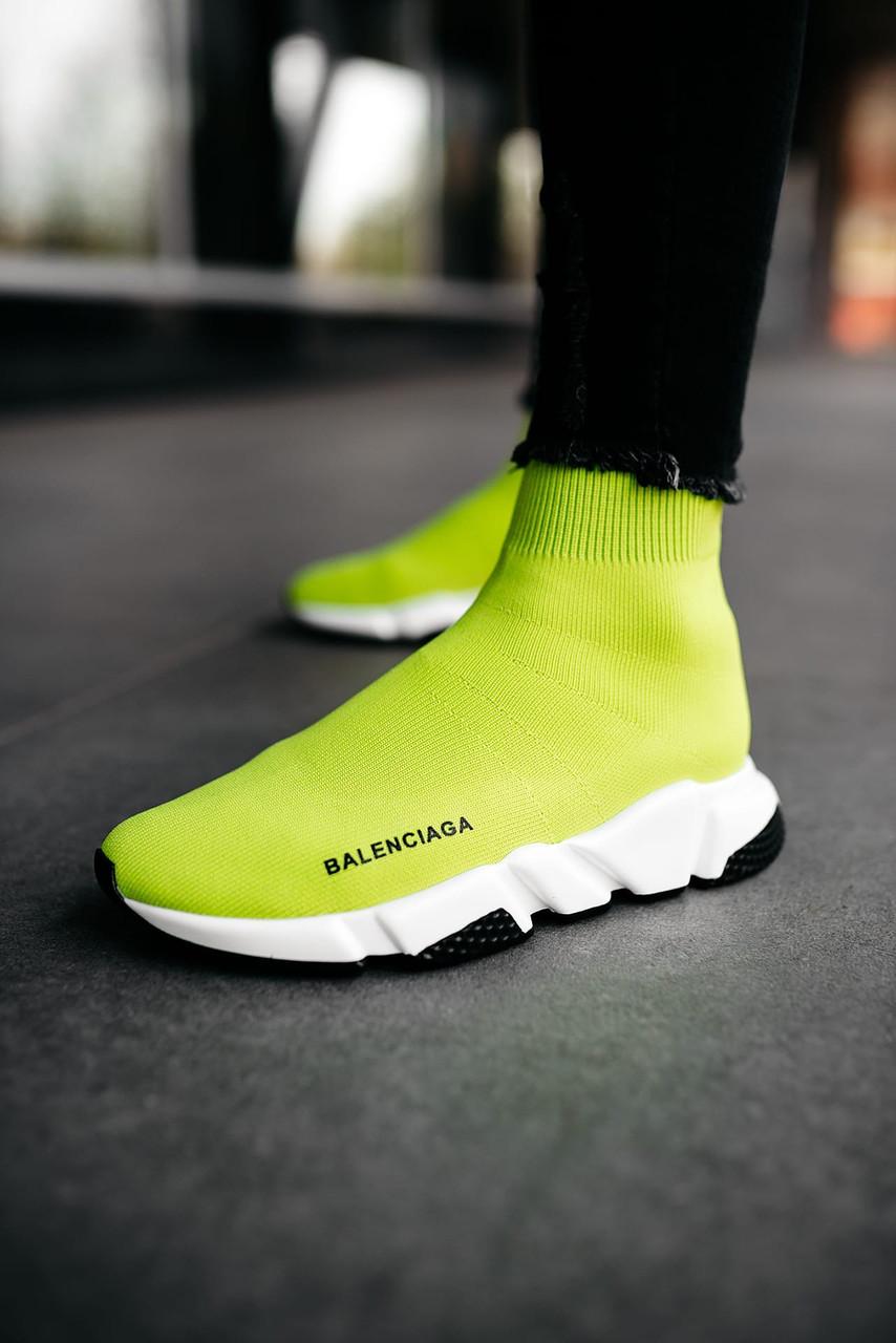 Женские кроссовки Balenciaga Speed Trainer  «Yellow BB», Реплика
