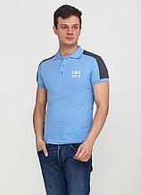 Голубой футболка-поло для мужчин EL & KEN с логотипом