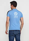 Голубой футболка-поло для мужчин EL & KEN с логотипом, фото 2