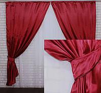 Комплект готовых штор из атласа. Цвет бордовый. №3