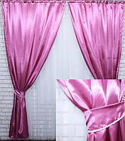 Комплект атласных штор.  Цвет лиловый №33