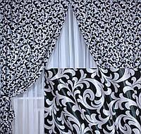 Комплект готовых штор  блэкаут, двусторонний. Цвет черный с серебристым  043ш (А)