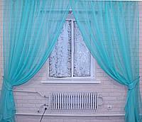 Комплект декоративных штор из шифона, цвет бирюзовый. 006дк