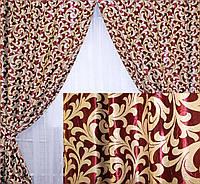 Комплект готовых штор  блэкаут, двусторонний. Цвет бордовый 073ш (А)