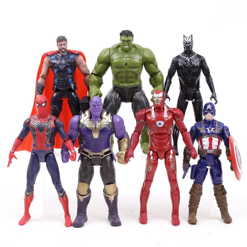 Набор фигурок 7в1 Мстители: Тор, Халк, Танос, Железный Человек, Человек-паук, Капитан Америка, Черная Пантера