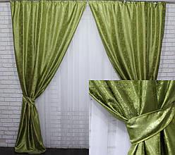"""Комплект готовых штор из жаккарда, коллекция """"Мрамор Al1"""". Цвет оливковый. Код  441ш дві штори  шириною 1м"""
