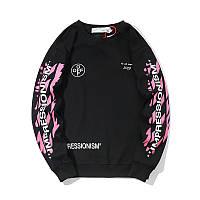 Свитшот Off white чёрный с розовым принтом (толстовка, кофта мужская женская)