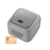 Выкл. одноклавишный подсветкой внешний VIKO Palmiye серый пылевлагозащищенный