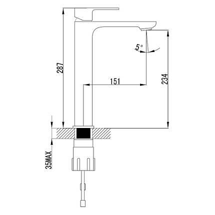 Змішувач для умивальника Imprese Bilovec 05255-H, хром, фото 2