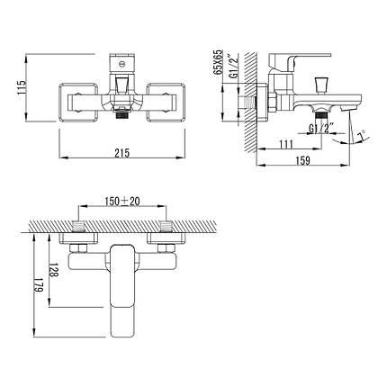 Змішувач для ванни Imprese Bilovec 10255 хром, фото 2