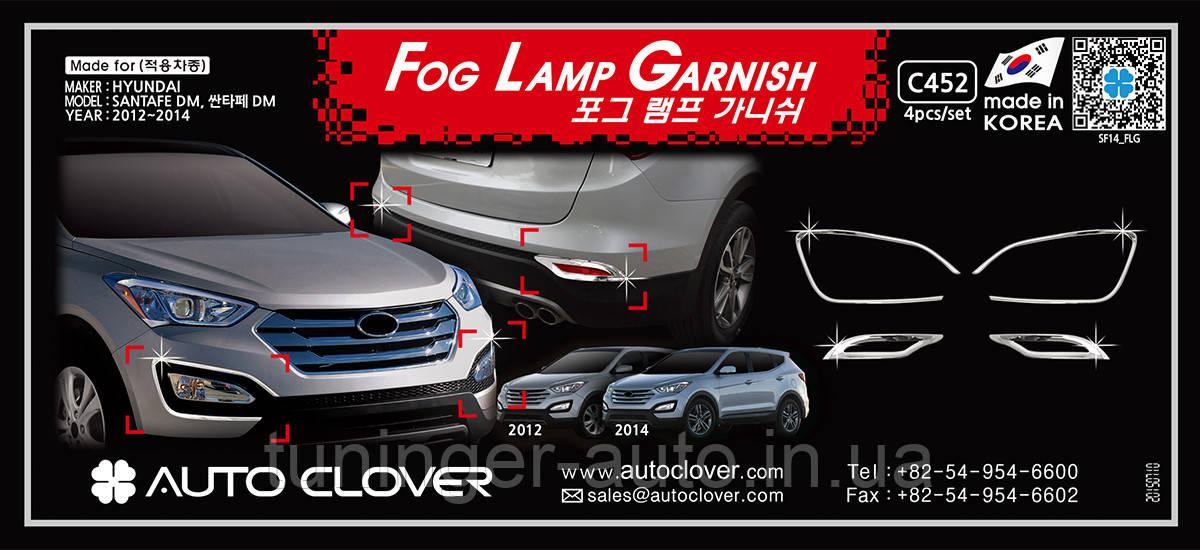 Хром окантовка галогенок Hyundai Santa Fe 2012- (Autoclover/Корея/C452)