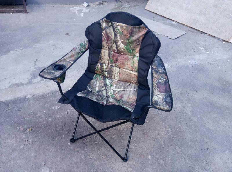 Стул - кресло раскладное Mavens с подлокотником и подстаканником Рыбак люкс черное с хаки (550104)