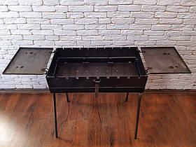 Складаний переносний мангал-валізу з двома столиками Mavens, на 9 шампурів, 2 мм