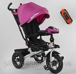 Велосипед 3-х колёсный, РОЗОВЫЙ, Best Trike, фара с USB, пульт, надувные колеса, звук русский 6088 F-06-755