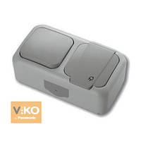 Комбинация розетки с заземлением и выключателя 1-кл.ViKO Palmiye Серый ПЫЛЕВЛАГОЗАЩИЩЕННЫЙ