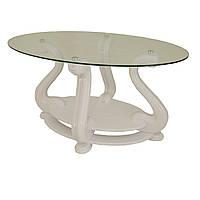 Журнальний стіл МС-2 Мілан Антонік 1100x600x580 мм білий прозорий