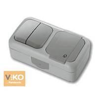 Комбинация розетки с заземлением и выключателя 2-кл.ViKO Palmiye Серый ПЫЛЕВЛАГОЗАЩИЩЕННЫЙ